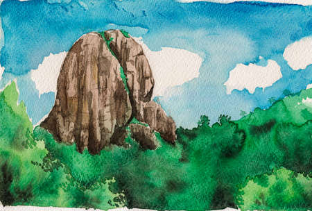 Illustration of the rocky peak called Bau Stone. Amid greenish valley and sunny sky, in the Brazilian countryside. Watercolor painting. Archivio Fotografico