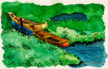 Colorful small wooden boats moored amid aquatic vegetation. Near the tropical beach of Itaunas in the Brazilian northeast. Watercolor painting. Archivio Fotografico