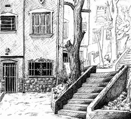 Illustration of staircase between house facade and garden at the Brazilian city of Sao Paulo, in comics style. Ink drawing. Archivio Fotografico