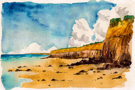 Landscape of beautiful cliffs by the sea and sunny day. At the tropical beach of Itaunas in the Brazilian northeast. Watercolor painting. Archivio Fotografico