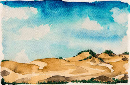 Landscape of beautiful sand dunes with undergrowth and sunny sky. At the tropical beach of Itaunas in the Brazilian northeast. Watercolor painting.