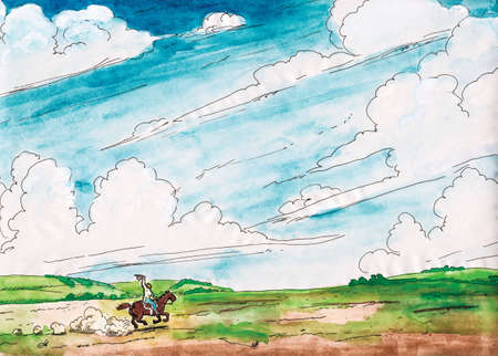 Illustration of cowboy riding a horse across a prairie in the Brazilian countryside on a sunny day. Watercolor painting. Archivio Fotografico