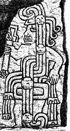 Portrayal of a fierce warrior carved in stone at Cerro Sechin Archaeological Site in Casma, northern Peru. Ink drawing.