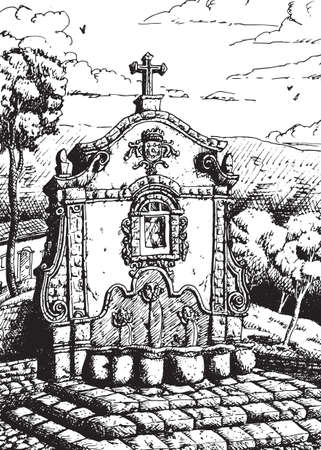View of an old fountain in Baroque style at Tiradentes. An historical little town in the countryside of Brazil. Ink drawing.