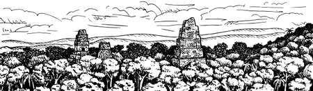 Top of pyramids amid trees of tropical forest at the old city of Tikal. An archaeological site from the Maya civilization in Guatemala. Ink drawing.