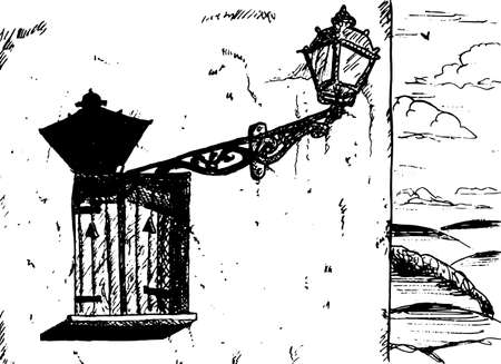 Old style metal sconce stuck to a wall with window. In a sunny day on the Way of St. James, in northern Spain. Ink drawing. 免版税图像