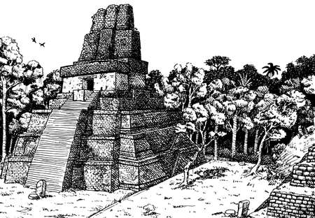 Steep temple-pyramid amid the forest at the old city of Tikal. A large archaeological site of the Maya civilization, in north Guatemala. Ink drawing.