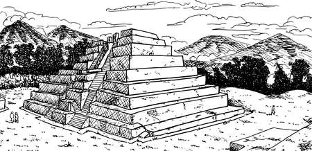 Temple-pyramid in talud-tablero style and double stair at the Maya city of Zaculeu. A pre-Columbian archaeological site in Guatemala. Ink drawing. 免版税图像