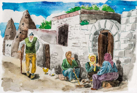 People talking on a quiet street in Goreme. A small countryside village in the Cappadocia region, located in central Turkey. Watercolor painting. Фото со стока