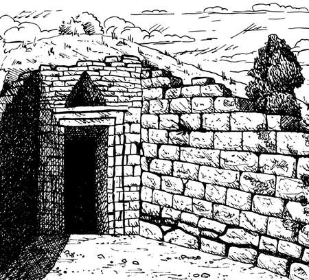 Entrance of the Treasury of Atreus ruins, also Known as Tomb of Agamemnon, at the Archaeological Site of Mycenae, in western Greece. Ink drawing.