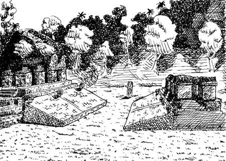 Ruins of ball court in the middle of forest at the old city of Copan. An archaeological site of the Maya civilization, in Honduras. Ink drawing.