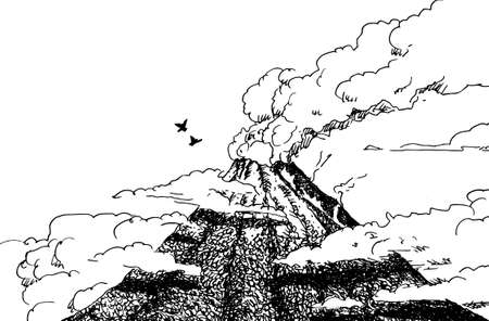 Ash cloud coming from the vent of the Arenal volcano in the middle of the forest. A famous volcano constantly erupting in Costa Rica. Ink drawing.