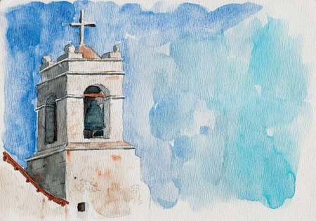 Small church belfry with bell and cross in San Pedro de Atacama. A cute tourist village on the Andean highland in northern Chile. Watercolor painting. Фото со стока