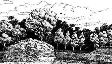 Ruined temple-pyramid in the middle of forest at the old city of Iximche. An archaeological site of the Maya civilization, in Guatemala. Ink drawing.