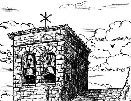 Facade and bellow tower in gothic style from an old church in Cizun Menor. A cute village on the Way of St. James, in northern Spain. Ink drawing.