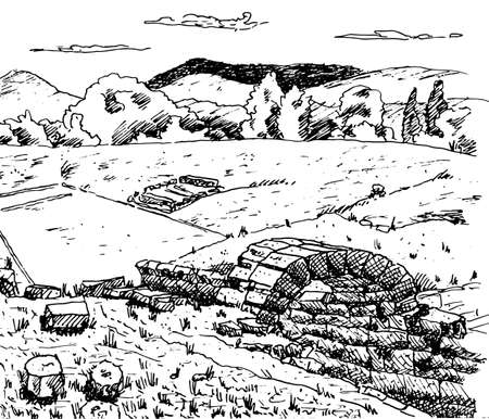 Stone ruins at the archaeological site of Olympia, where the ancient Games were held, on the Greek Peloponnese peninsula. Ink drawing.
