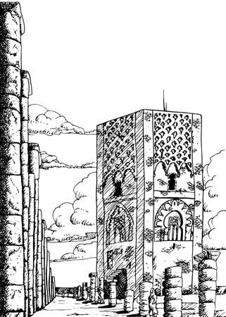 Hassan Tower among several columns at the mausoleum of Mohammed V in Rabat. A city by the sea and capital of Morocco. Ink drawing.