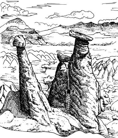 Curious geological landscape of rocky crags eroded by weather in Cappadocia. At the Turkish countryside. Ink drawing.