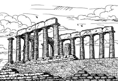 Colonnade at the ancient Temple of Poseidon in Cape Sounion, one of the major monuments of the Athenian Golden Age, in southern Greece. Ink drawing. 免版税图像