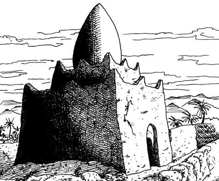 Small building mud-built with a peculiar egg-shaped roof in the countryside near the Ouarzazate village. A Moroccan town in the desert. Ink drawing. 免版税图像