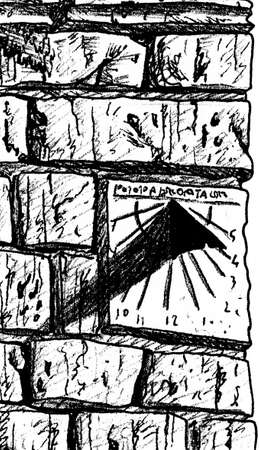 Iron sundial on stone brick wall at the Way of St. James. A pilgrimage route leading to Santiago de Compostela in Spain. Ink drawing. 免版税图像