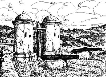 watchtowers at the entrance of Fuerte San Cristobal, a fortification near the town of Gracias, western Honduras. Ink drawing.