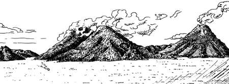 Atitlan Lake with large hills and Volcano covered by forest on its shore. In the highlands of central Guatemala. Ink drawing.