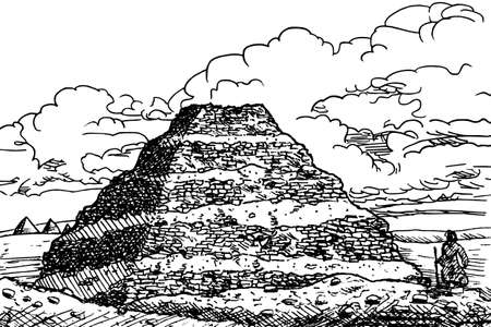 Djoser step Pyramid, the oldest stone building complex known in history. An archaeological site on the desert in Saqqara, central Egypt. Ink drawing. 免版税图像