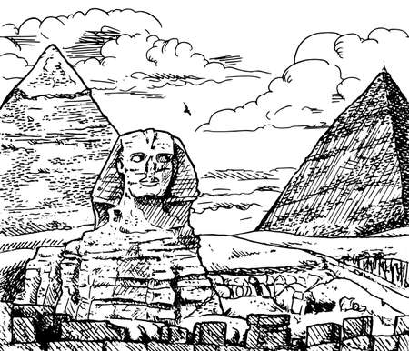 View of Giza pyramids complex with the great Sphinx. Near Cairo in Egypt, it is one of the world biggest tourist attractions. Ink drawing.