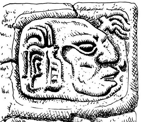 Profile portrait of a man carved in stone at the old city of Copan. An archaeological site of the Maya civilization, in western Honduras. Ink drawing. 免版税图像