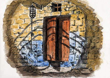 Detail of wooden door ajar in an old stone building at Rhodes. A historical town with medieval architecture in Greece. Watercolor and ink drawing.