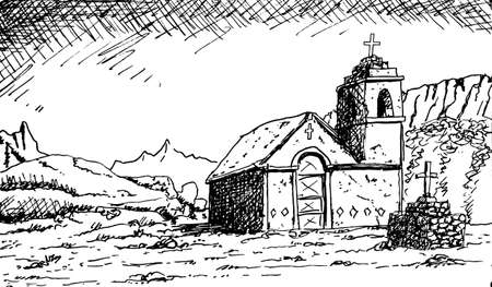 Small church with a steeple in the arid Atacama landscape. A remote and sparsely inhabited region on the Andean highland, in Chile. Ink drawing. 免版税图像