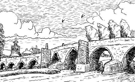 Pathway over gothic stone bridge at Hospital de Orbigo. A historical village on the Way of St. James. A pilgrimage route in Spain. Ink drawing