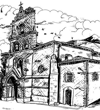 Facade and bellow tower in gothic style from an old church in Belorado. A small village on the Way of St. James, in northern Spain. Ink drawing.