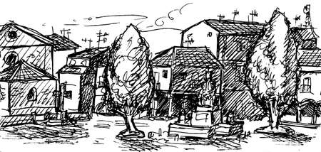 Square with old houses and some trees in a village at the Way of St. James. A pilgrimage route leading to Santiago de Compostela in Spain. Ink drawing