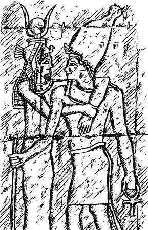 Wall depicting the pharaoh and his queen carved in low relief by ancient Egyptians. At the Edfu temple, southern Egypt. Ink drawing.