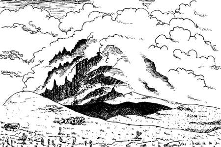 Secondary volcanic cone at Mount Kilimanjaro on a rocky landscape. This Tanzanian dormant volcano is the highest place in Africa. Ink drawing. 免版税图像