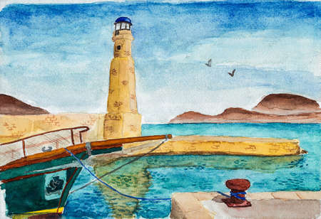 Bow of boat docked on a pier with lighthouse at the island of Crete. A large island on the Aegean Sea, in southern Greece. Watercolor painting. Фото со стока