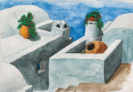Whitewashed roofs with flowers and alley from typical houses in Santorini. A volcanic island in the Aegean Sea, southern Greece. Watercolor painting.