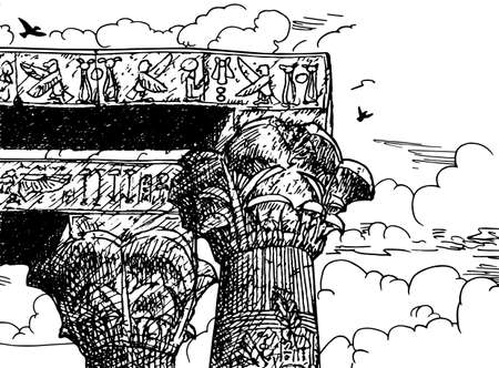 Column capital in papyrus style and girders covered by hieroglyphics made by the ancient Egyptians at the Kom Ombo temple, Egypt. Ink drawing. 免版税图像