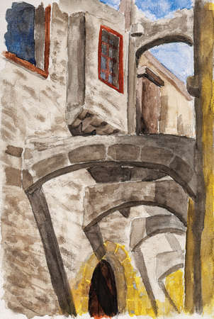 Detail of arches between old stone buildings in a narrow alley of Rhodes. A historical town with medieval architecture in Greece. Watercolor painting. Фото со стока
