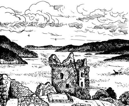 Tower and stone walls of the Urquhart Castle on the shore of the famous Loch Ness. In the countryside of northern Scotland. Ink drawing.