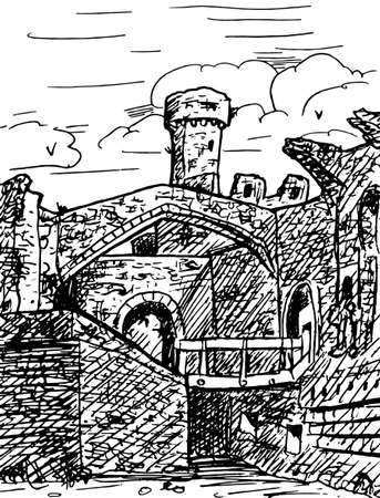 Towers and stone walls with arch at the large Conway Castle. In the countryside of Wales, United Kingdom. Ink drawing.