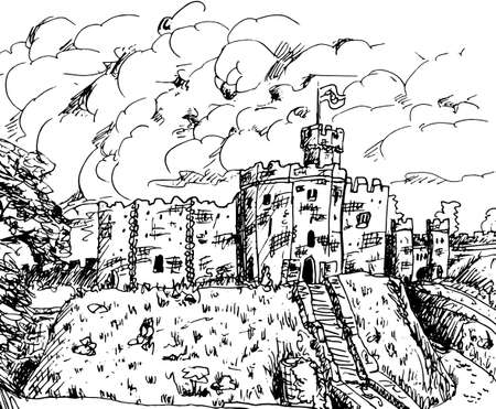 Towers and stone walls with merlons in a Castle on the top of a hill. In the countryside of Wales, United Kingdom. Ink drawing.