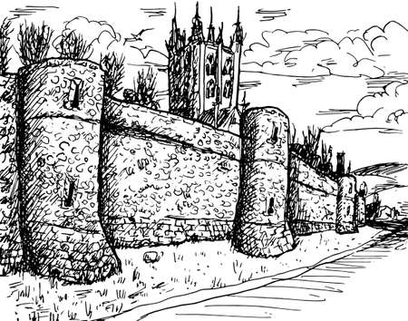 Stone towers on the large city wall in Romanesque style and belfry at Canterbury. An old town with medieval heritage in southern England. Ink drawing.