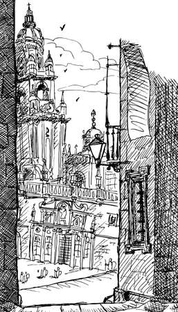 Astonishing facade of the Santiago de Compostela Cathedral, in the finish line of the Way of St. James. A pilgrimage route in Spain. Ink drawing Фото со стока