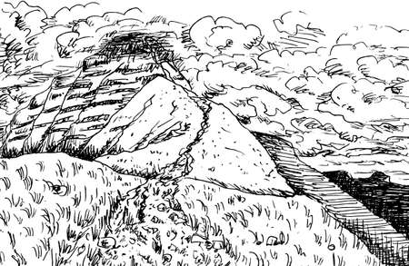 Rocky trail going up through bushes towards the top of Pen Y Fan peak in a cloudy day, in the countryside of Wales, United Kingdom. Ink drawing.