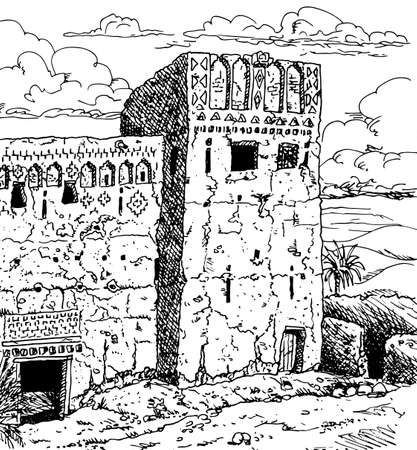 Frontage and tower of an old Kasbah in ruins, a fortress palace mud-built near the Ouarzazate village. A Moroccan town in the desert. Ink drawing.