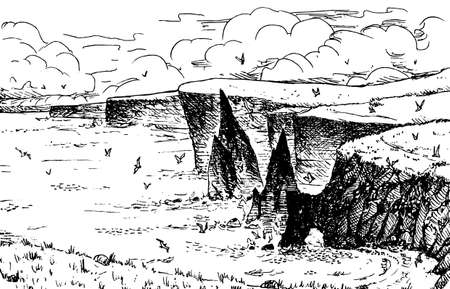 Curious steep cliffs falling into the sea on a sunny day. In the northern coast of Scotland. Ink drawing. Фото со стока
