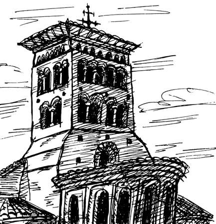 Facade and bellow tower in gothic style from an old church in Sahagun. A small village on the Way of St. James, in northern Spain. Ink drawing.